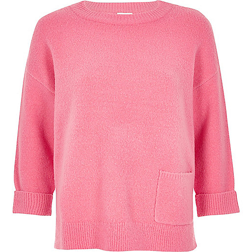 Pink knit pocket sweater