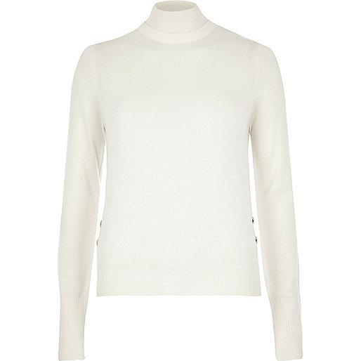 Cream knit turtleneck jumper
