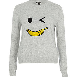 Grey knit banana man sweater