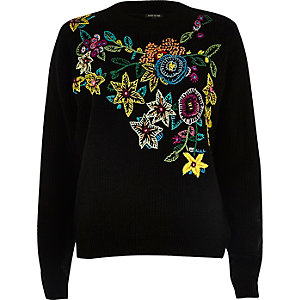 Black knit floral embroidered sweater