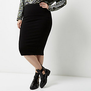 Plus black jersey pencil skirt
