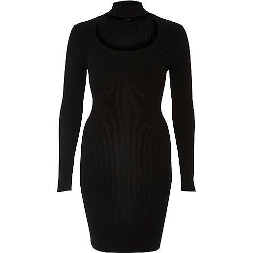 Black choker scoop neck ribbed dress
