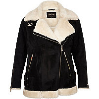 Plus black shearling aviator jacket