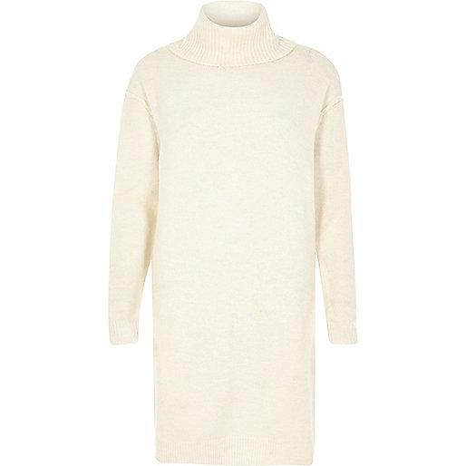 Cream turtleneck dress