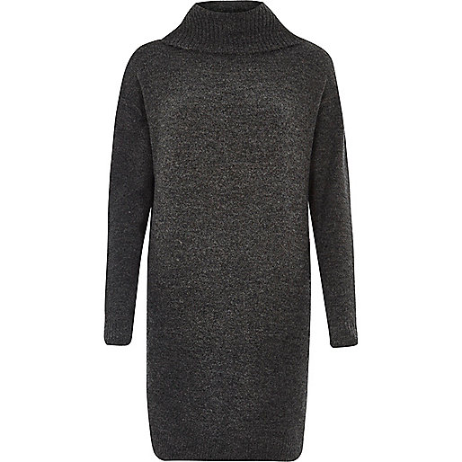 Dark grey knit turtleneck dress