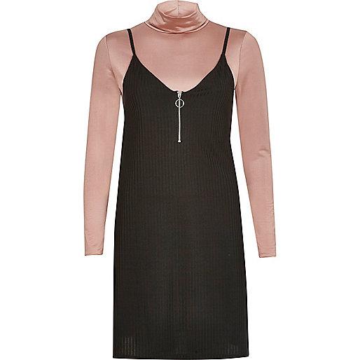 Black cami dress with turtleneck top