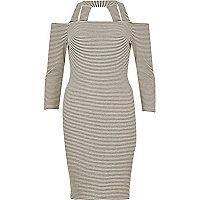 Black stripe strappy bardot dress