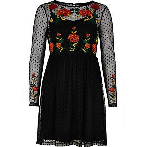 Black mesh rose embellished skater dress