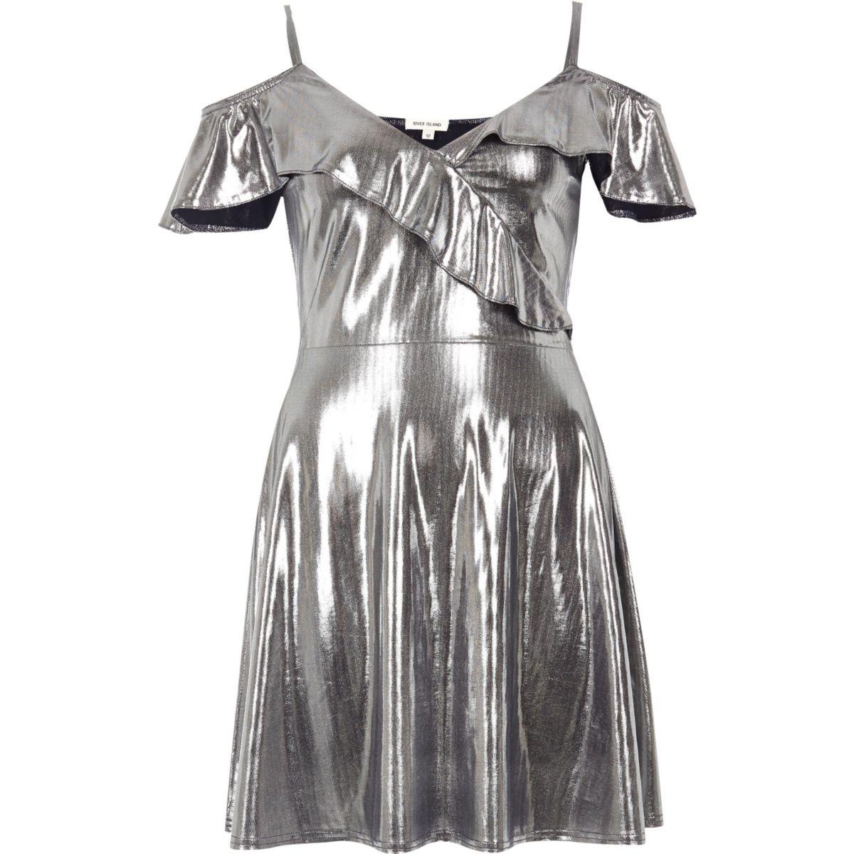 Silver frill skater dress