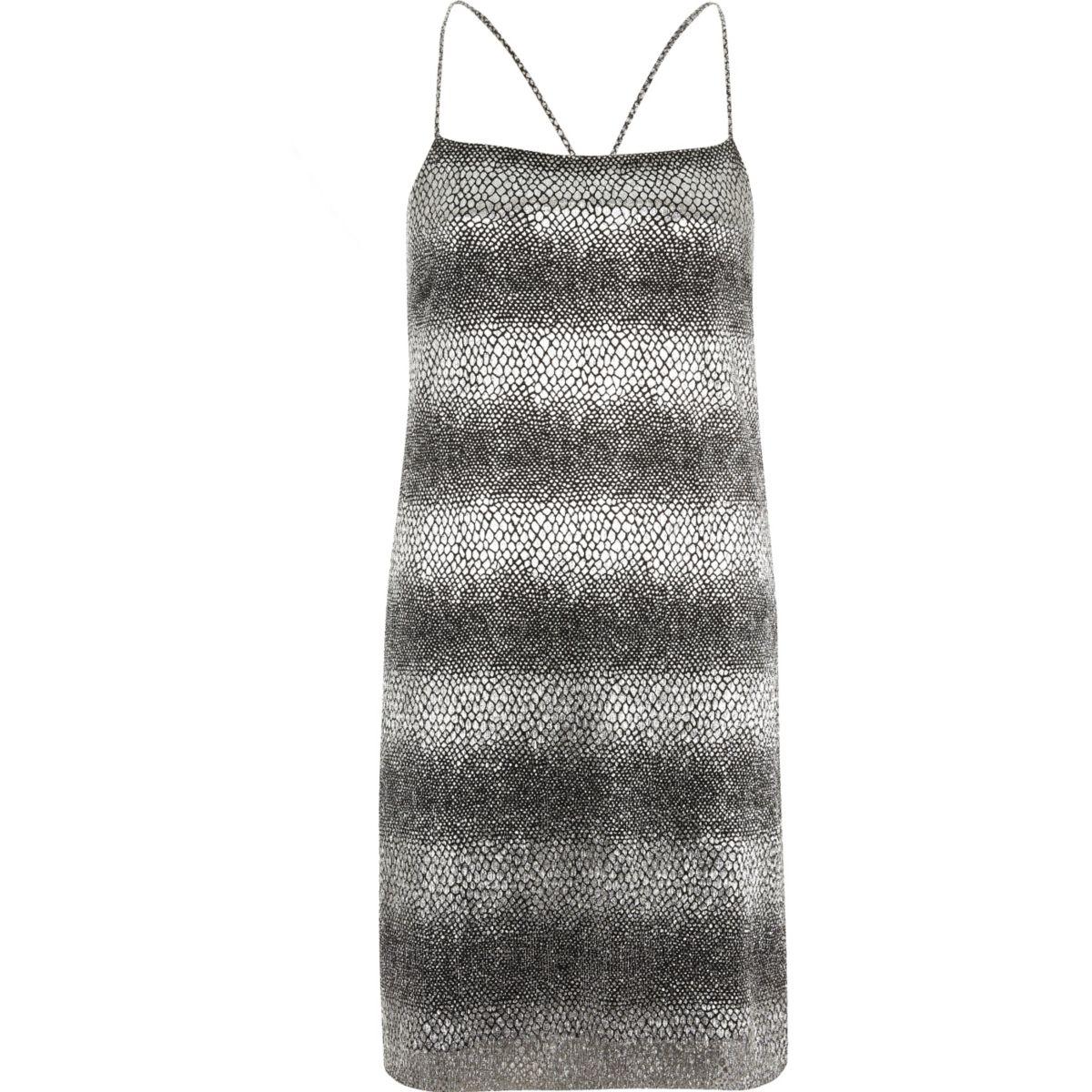 Black metallic animal print slip dress