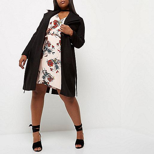 Plus black double collar robe coat