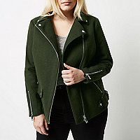 Plus khaki green wool blend aviator coat