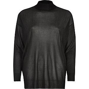 Black sheer knit turtleneck top