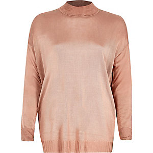 Dusty pink sheer knit turtleneck top