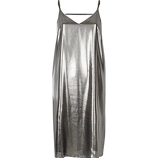 Silver strap back cami midi dress