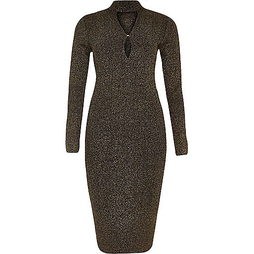 Black sparkly knit keyhole turtleneck dress