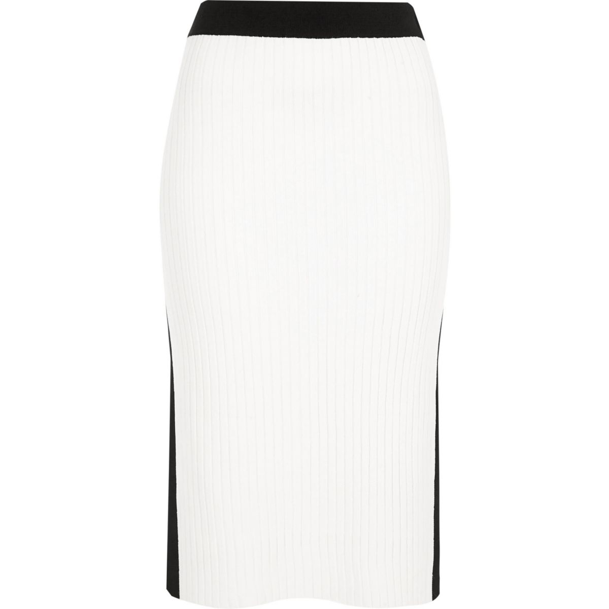 White and black sports midi skirt