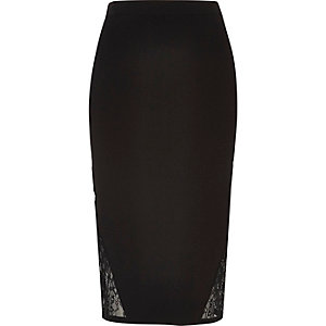 Black pencil skirt with lace detail