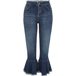 Mid blue wash frill hem cropped jeans
