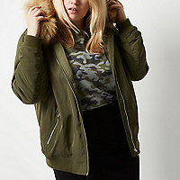 Plus khaki green padded bomber with hood