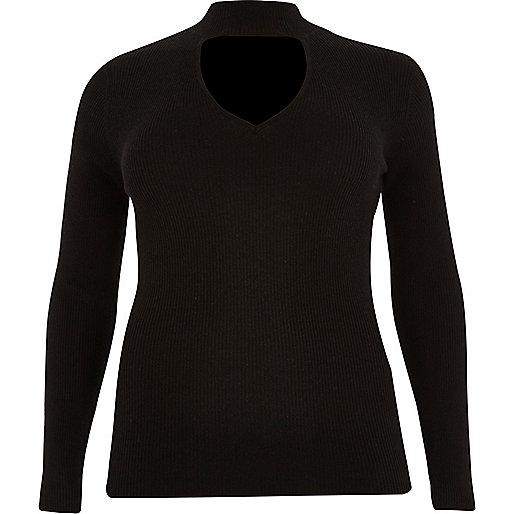 Plus black ribbed choker top