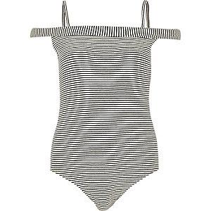 Black stripe bardot bodysuit