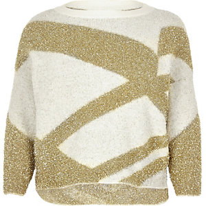 Plus gold tinsel knit Christmas sweater