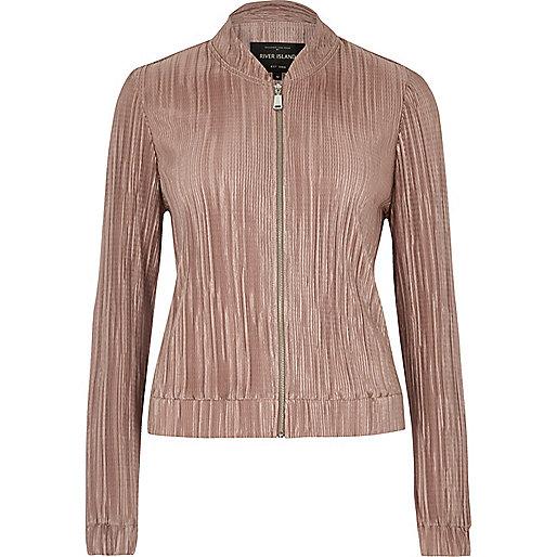 Rose pink crinkle bomber jacket