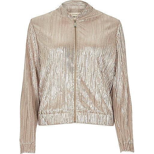 Gold crinkle bomber jacket