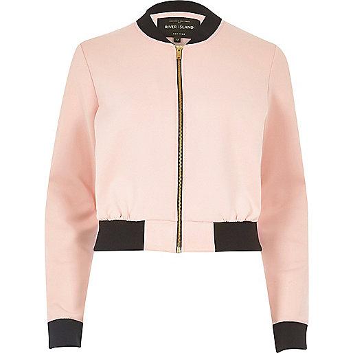 Light pink cropped bomber jacket