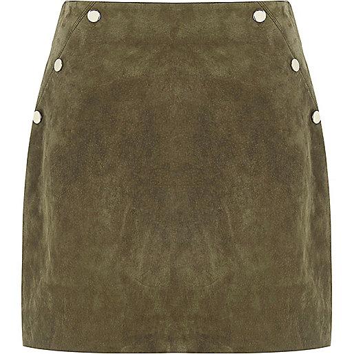 Khaki suede popper mini skirt