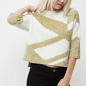 Petite cream and gold knit grazer top