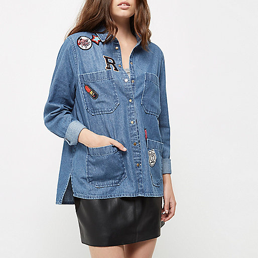 Petite blue denim wash badge shacket
