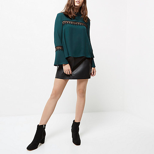 Petite dark green lace bell sleeve top