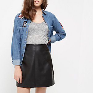 Petite black panel leather look mini skirt