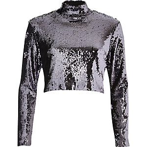 Purple sequin turtleneck crop top