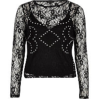 Black embroidered stud top