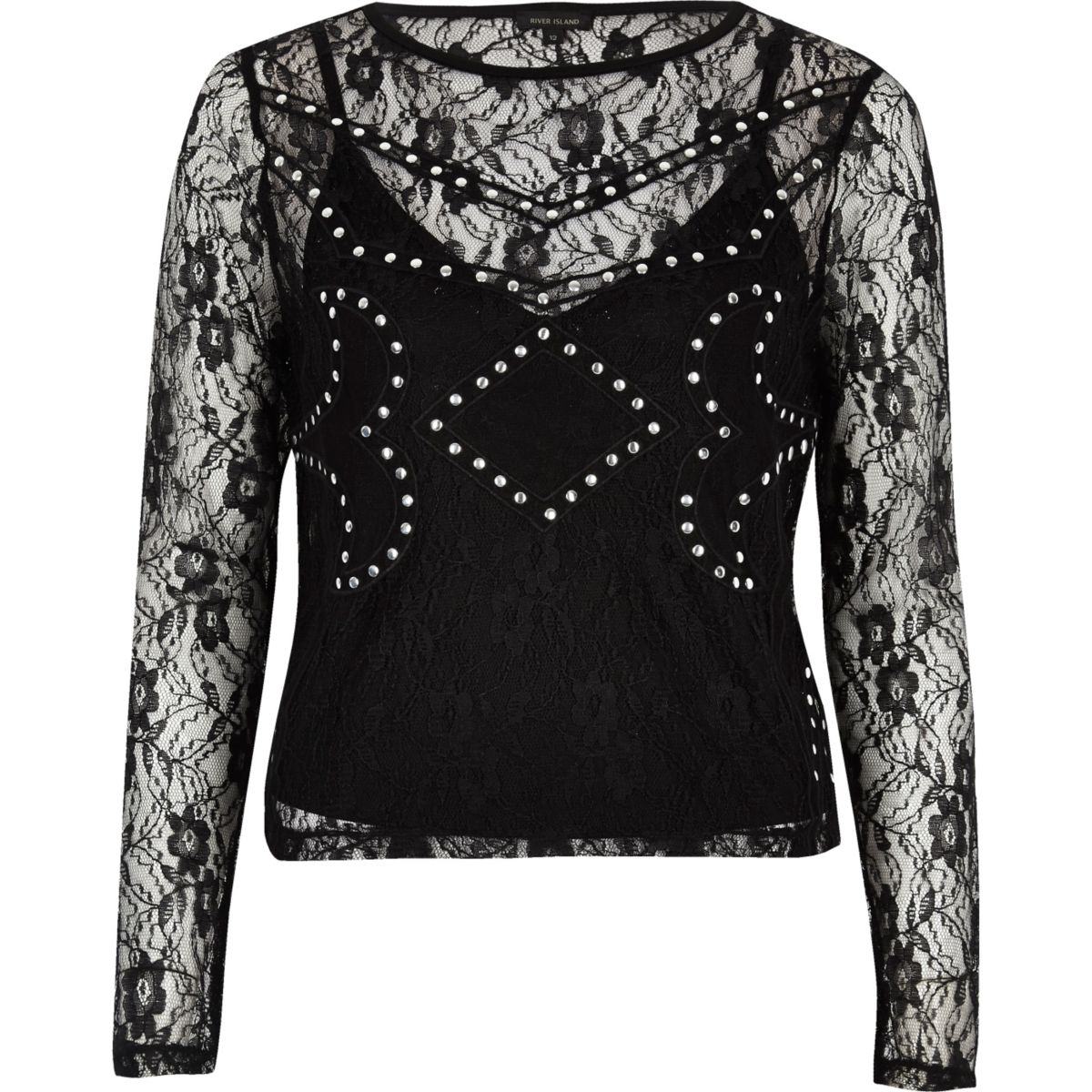 Black embroidered stud top