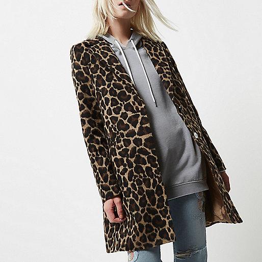 Petite leopard print overcoat