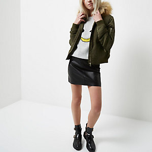 Petite khaki green hooded bomber jacket