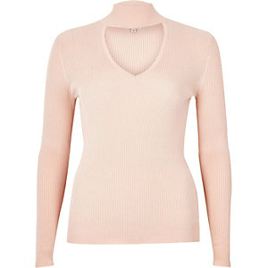 Light pink ribbed choker top