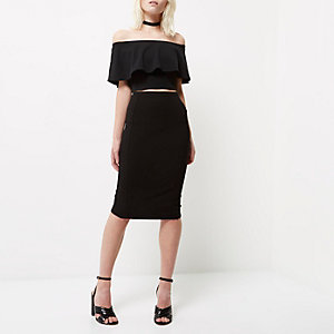 Petite black panelled pencil skirt