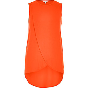 Orange wrap front tank top