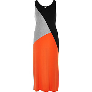 Orange color block maxi dress