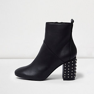 Black stud block heel ankle boots