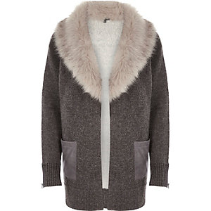 Grey knit faux fur collar cardigan