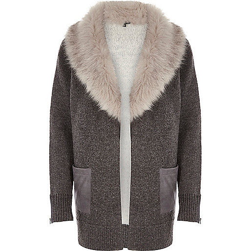 Grey knit faux fur collar cardigan