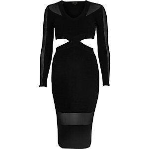 Black mesh panel cut-out bodycon dress