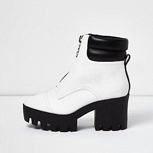 White patent zip chunky platform boots