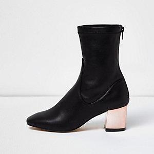 Black metallic block heel ankle boots